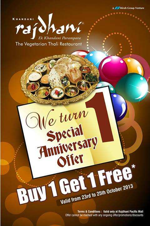 Rajdhani Thali Special Anniversary Offer 1 Get Free 23 To 25