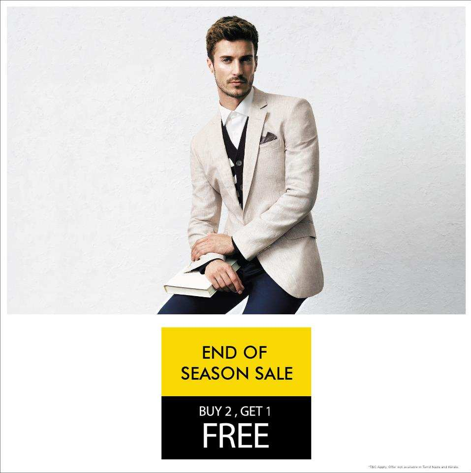 van heusen end of season sale buy 2 get 1 free deals sales offers discounts in delhi ncr. Black Bedroom Furniture Sets. Home Design Ideas