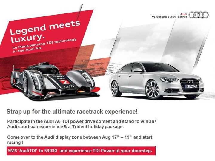participate in the audi a6 tdi power drive contest and stand to win an audi sportscar experience. Black Bedroom Furniture Sets. Home Design Ideas