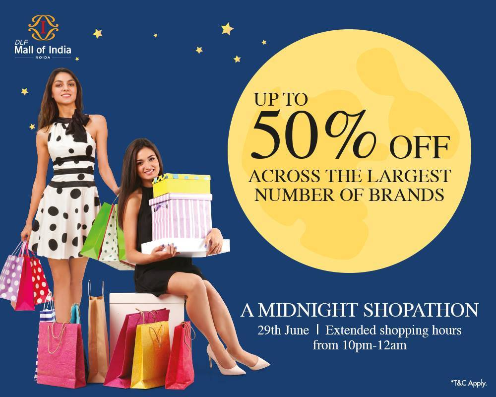 Midnight Shopathon - Up To 50% off at DLF Mall of India