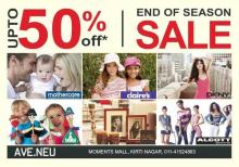 End of Season Sale - Upto 50% off at AVE.NEU, Moments Mall, Kirti Nagar. Mothercare, claire's, DKNY, ELC, Pure Home & Living, ALCOTT