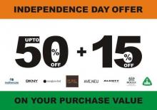 Special Independence Day offer - upto 50% off + 15% off on your purchase value on 14 and 15 August 2012 at AVE.NEU, Moments Mall, Kirti Nagar  Mothercare, DKNY, Sunglasshut, Pure Home Living, ALCOTT, BOGGI, ELC