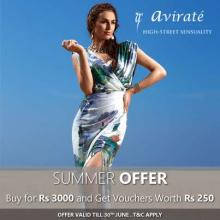Avirate Summer Offer - Buy for Rs.3000 & get vouchers worth Rs.250 - valid till 30 June 2013