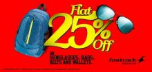 Flat 25% off on Sunglasses, Bags, Belts & Wallets at Fastrack.