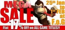 Mega Sale - Flat 17% off on all game titles at Federation Of Gamers F.o.G, DLF Place Saket Delhi from 25 January to 1 February 2013. Call 011-46323630 for any queries.
