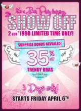 Lingerie deals - It's a Bra Party featuring The Show Off, 35% off on Trendy Bras at La Senza, 6th to 8th April 2012
