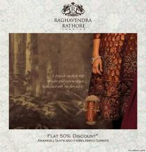 Flat 50% discount on Anarkali Suits and Embelished Sarees by Raghavendra Rathore at DLF Emporio, Vasant Kunj