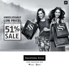 'Unbelievably Low Prices'  Up To 51% off Sale at Shoppers Stop Begins on 3rd January 2015