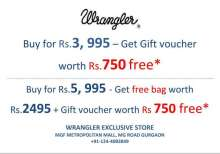 Get a free Duffel Bag & Gift Voucher on Purchase of Rs.5995/- at Wrangler