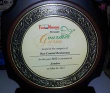Zambar has been awarded The Best Coastal Cuisine Restaurant at the Gourmet Guru's Food & Nightlife Awards held in Delhi on 4th May 2012