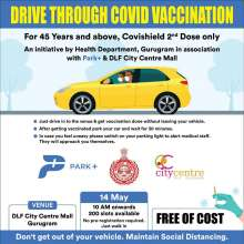 COVID-19 Drive Through Vaccination Camp at DLF City Centre